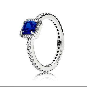 Pandora Blue Square Sparkle Halo ring
